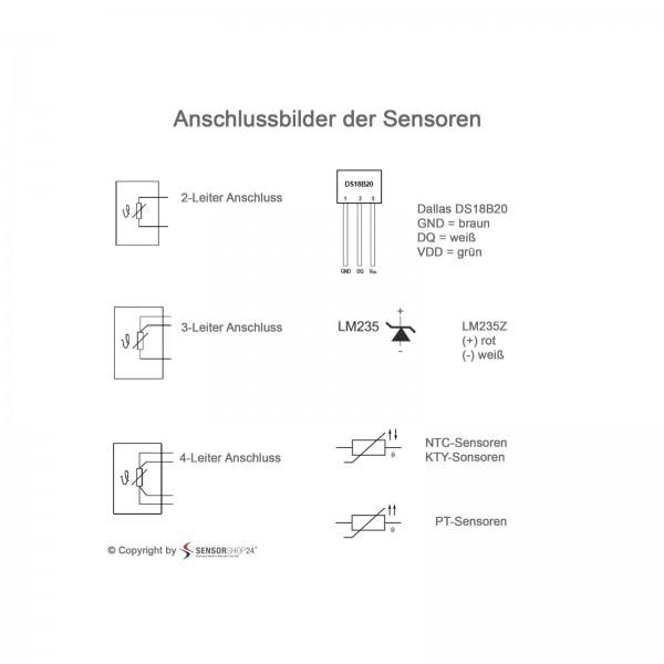 Sensorshop24® KNTFS канальный датчик температуры с монтажным фланцем и высокой скоростью отклика