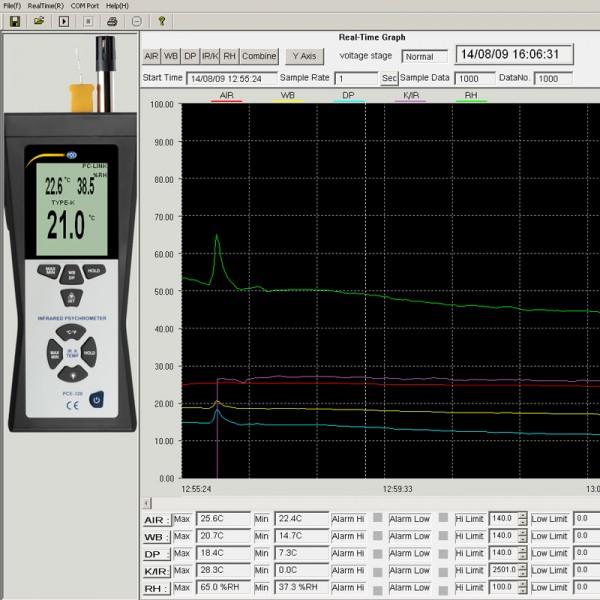 PCE-320 профессиональный термогигрометр cо встроенным пирометром