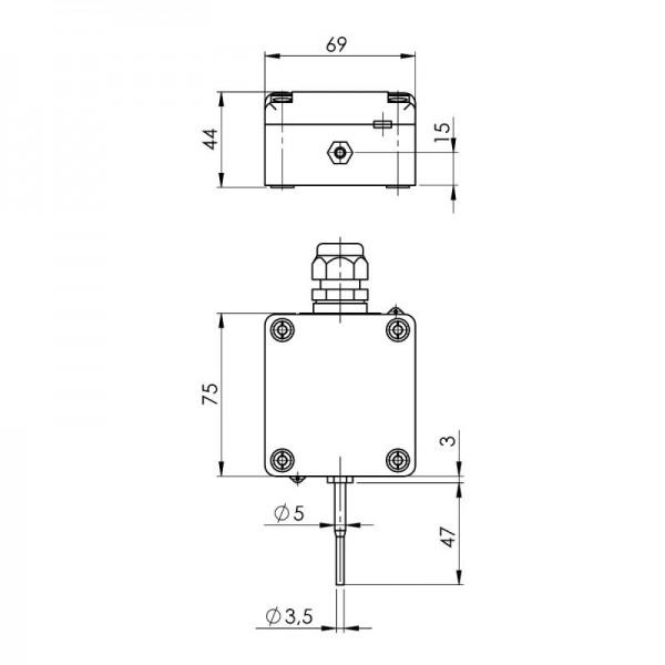 Sensorshop24® AUF1/extS/A наружный датчик температуры c высокой скоростью отклика и аналоговым выходом