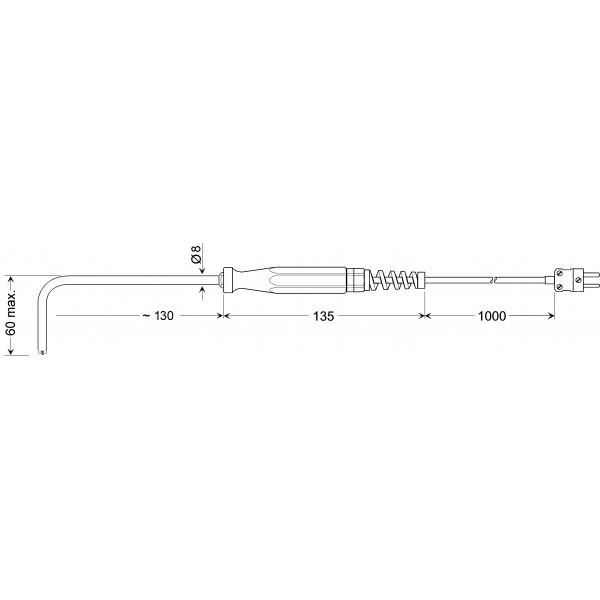 GOF 900 HO изогнутый датчик температуры -65...+900°C, длинна 130 мм., толщина 8 мм. для твердых поверхностей