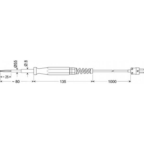 GBF 1550 высокотемпературный датчик +50...+1550°C, длинна 80 мм., толщина 5,5 мм. для твердых материалов