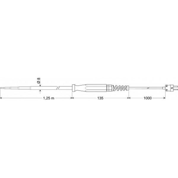 GKF 125 датчик температуры -65...+200°C, длинна 1250 мм., толщина 8 мм. для компоста и рыхлых материалов