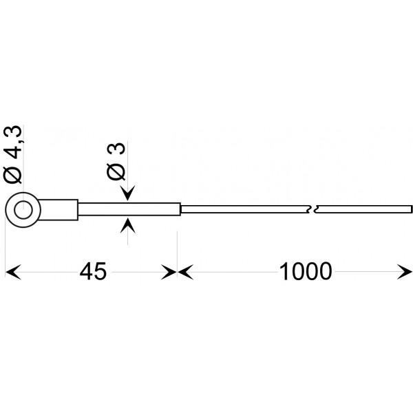 GKF 250  датчик температуры -50...+250°C, длинна 45 мм., толщина 3 мм. для проводов