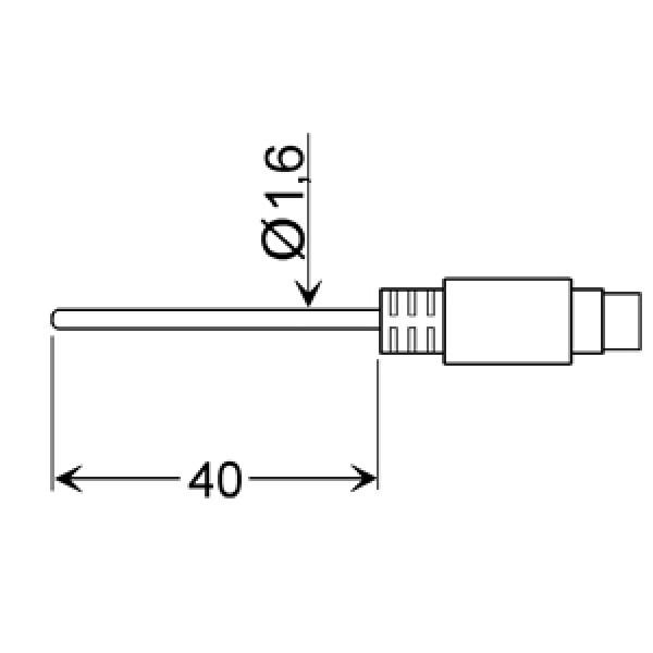 GLF 401 Mini датчик температуры -25...+70°C, длинна 40 мм., толщина 1,6 мм. для окружающей среды, точность DIN класс A