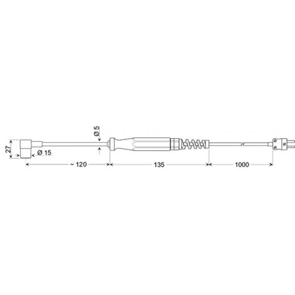 GOF 200 HO изогнутый датчик температуры -65...+400°C, длинна 120 мм., толщина 5 мм. для твердых поверхностей