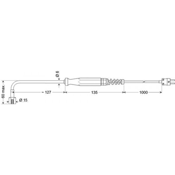 GOF 400 HO изогнутый датчик температуры -65...+400°C, длинна 127 мм., толщина 15 мм. для твердых поверхностей