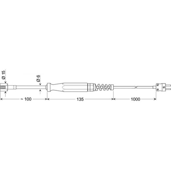GOF 400 VE датчик температуры -65...+400°C, длинна 100 мм., толщина 15 мм. для твердых поверхностей
