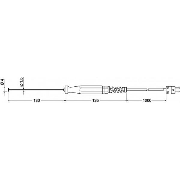 GOF 500  датчик температуры -65...+500°C, длинна 130 мм., толщина 4 мм. для газов и твердых поверхностей