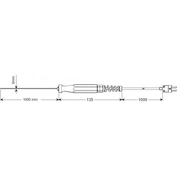 GTF 1000 AL датчик температуры -200...+1000°C, длинна 1000 мм., толщина 6 мм. для расплавленного алюминия и др. цветных металлов
