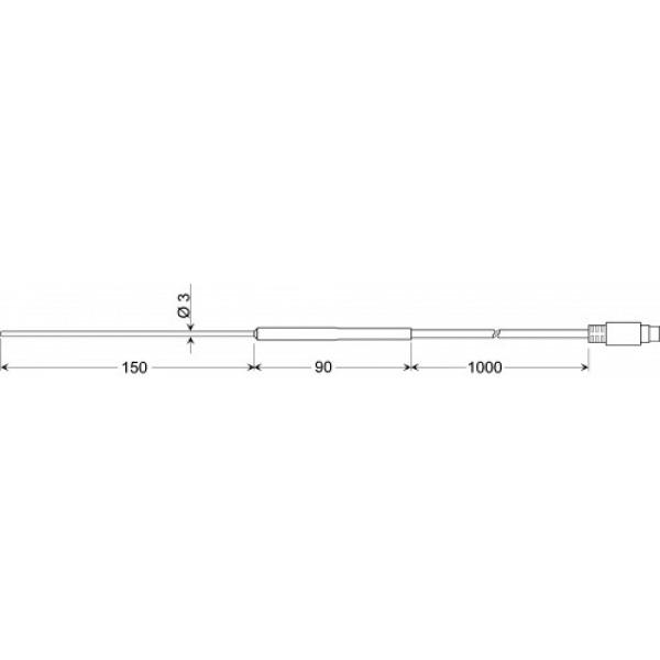 GTF 35 датчик температуры -50...+400°C, длинна 150 мм., толщина 3 мм. для газов и жидкостей, точность DIN класс В