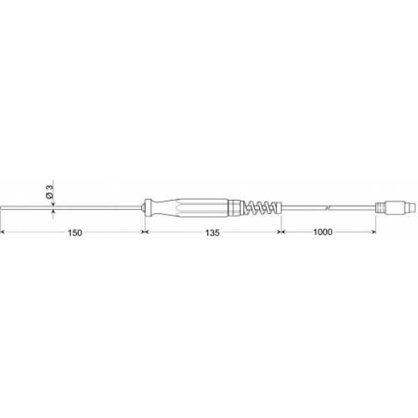 GES 401 датчик температуры -50...+400°C, длинна 150 мм., толщина 3 мм. для мягких пластических сред, точность DIN класс В