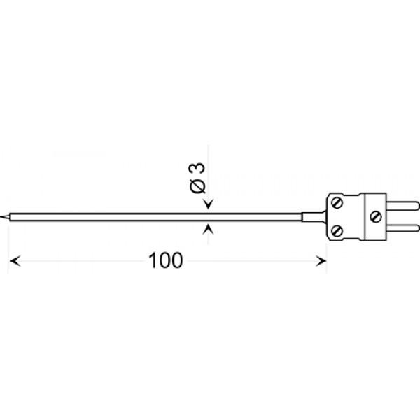 GTO 130 OK датчик температуры -65...+400°C, длинна 100 мм., толщина 3 мм. для воздуха и газов