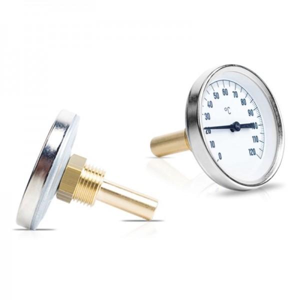 """Sensorshop24® BI-001 биметаллический, латунный термометр с резьбой 1/2"""" и длиной 40/100/150/200/250/300 мм"""
