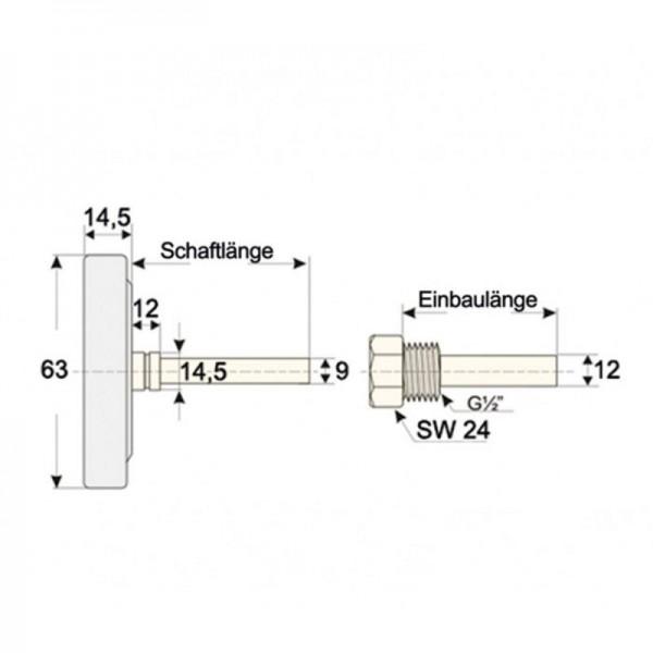 """Sensorshop24® BI-003 биметаллический, латунный термометр с резьбой 1/2"""" (пластиковый корпус)"""
