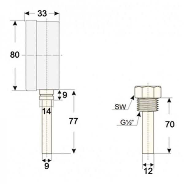 """Sensorshop24® BI-006 биметаллический термометр с резьбой 1/2"""" и длиной 70 мм"""