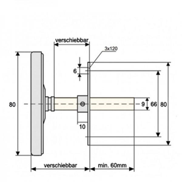 Sensorshop24® BI-013 биметаллический канальный термометр для воздуховодов