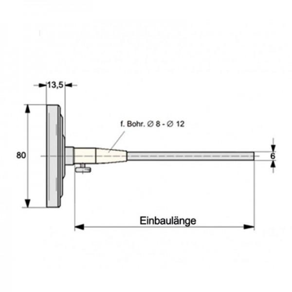 Sensorshop24® BI-014 биметаллический термометр для дымовых газов температурой до +500°C