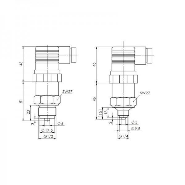 Sensorshop24® DT1 преобразователь избыточного и отрицательного давления с аналоговым выходом