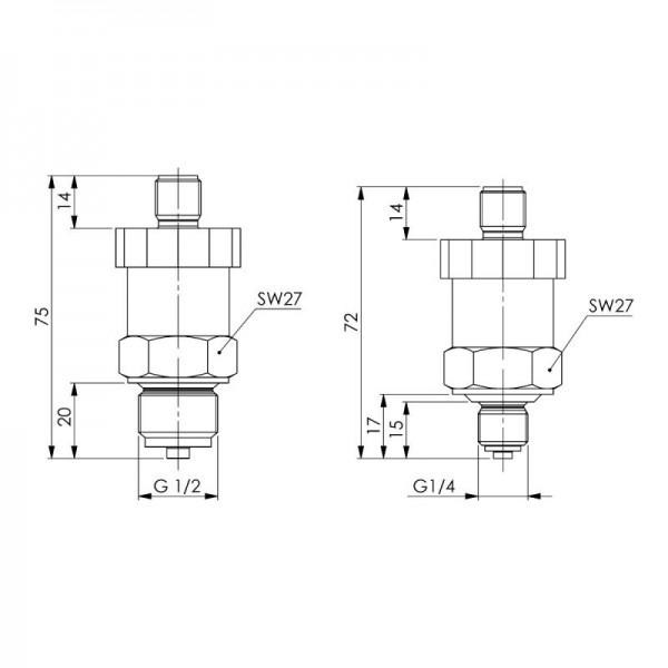 Sensorshop24® DT2 преобразователь избыточного и отрицательного давления с аналоговым выходом и соединением М12