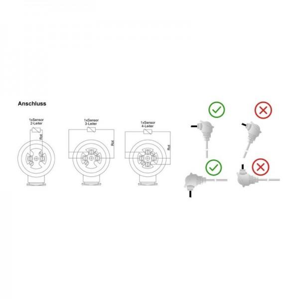 """Sensorshop24® EF-HR ввинчиваемый датчик температуры до +600°C с резьбой 1/2"""" (головка DIN B)"""