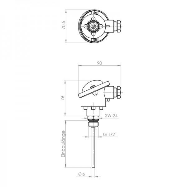 """Sensorshop24® EF-B ввинчиваемый датчик температуры до +400°C с резьбой 1/2"""" (головка DIN B)"""