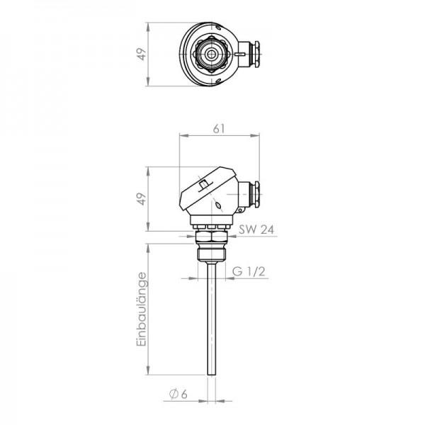 """Sensorshop24® EF-MA ввинчиваемый датчик температуры до +400°C с резьбой 1/2"""" (головка DIN J)"""