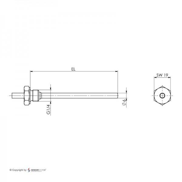 """Sensorshop24® EF3 ввинчиваемый датчик температуры G1/4"""""""