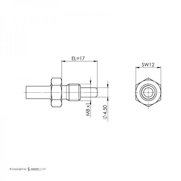 Sensorshop24® EF5G ввинчиваемый датчик температуры J-типа М8 и монтажной длиной 17 мм