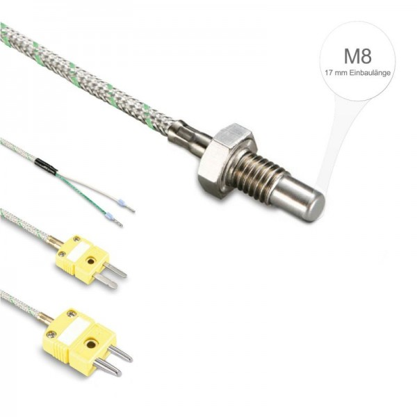 Sensorshop24® EF5G ввинчиваемый датчик температуры К-типа М8 и монтажной длиной 17 мм