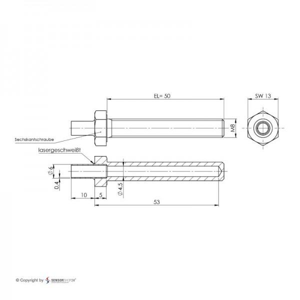 Sensorshop24® EF6G ввинчиваемый датчик температуры К-типа М8х50