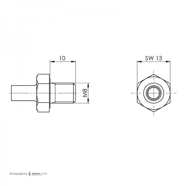 Sensorshop24® EF7G ввинчиваемый датчик температуры J-типа М8х10