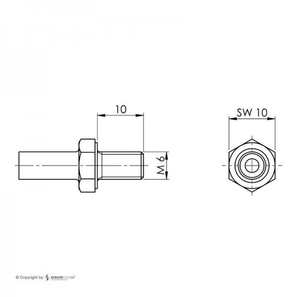 Sensorshop24® EF8G ввинчиваемый датчик температуры К-типа М6х10