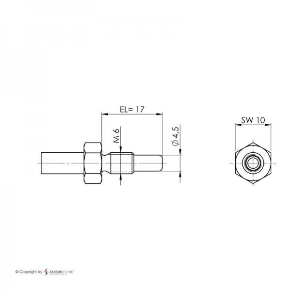 Sensorshop24® EF9 ввинчиваемый датчик температуры М6 и монтажной длиной 17 мм