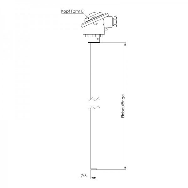 Sensorshop24® ET-B погружной датчик температуры до +400°C (головка DIN B)