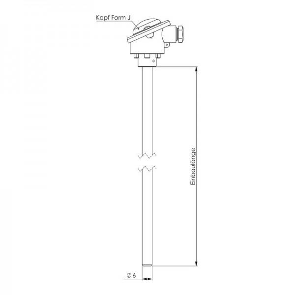Sensorshop24® ET-MA погружной датчик температуры до +400°C (головка DIN J)