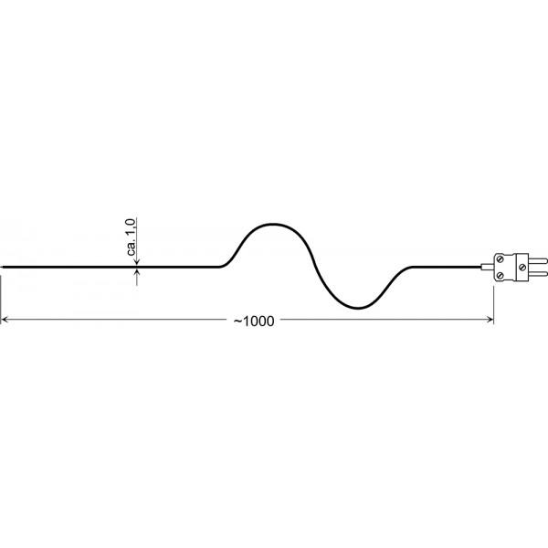 GTF 300 датчик температуры -65...+300°C, длинна 1000 мм., толщина 1,0 мм. для газов и жидкостей
