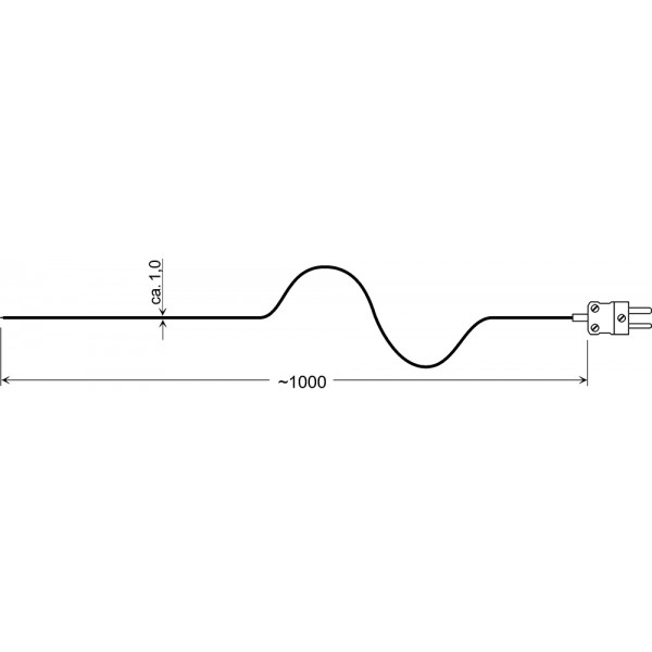 GTF 300-SP датчик температуры -65...+300°C, длинна 1000 мм., толщина 1,0 мм. для газов и жидкостей