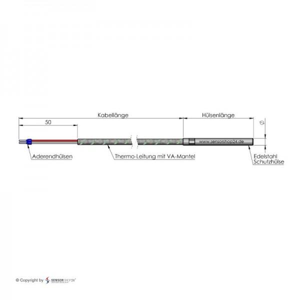 Sensorshop24® KG датчик температуры К-типа Ø4 мм