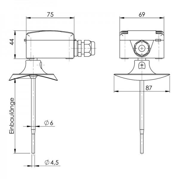 Sensorshop24® KNTFS/A канальный датчик температуры c высокой скоростью отклика и аналоговым выходом