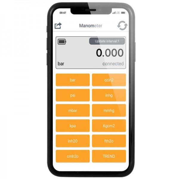 PCE-BDP 10 дифманометр с интерфейсом Bluetooth