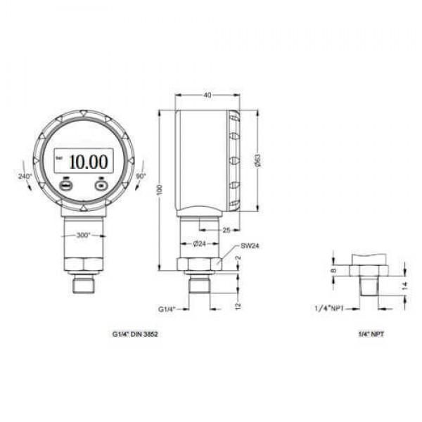 PCE-DMM10 манометр относительного давления для агрессивных газов, топлива, масел
