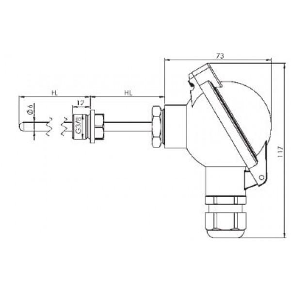 Greisinger GTF103-EX взрывозащищенный датчик температуры с резьбой и без