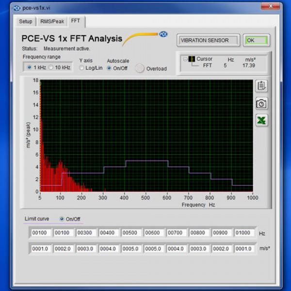 PCE-VS 11 монитор вибраций с функцией частотного анализа БПФ