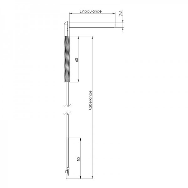 Sensorshop24® WFG угловой датчик температуры J-типа Ø6 мм